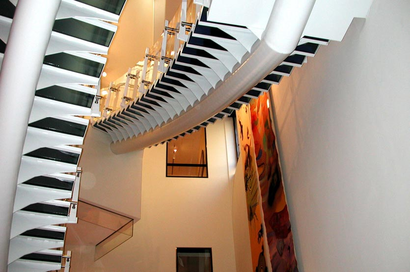 Monumental steel staircase in Aisa Society lobby