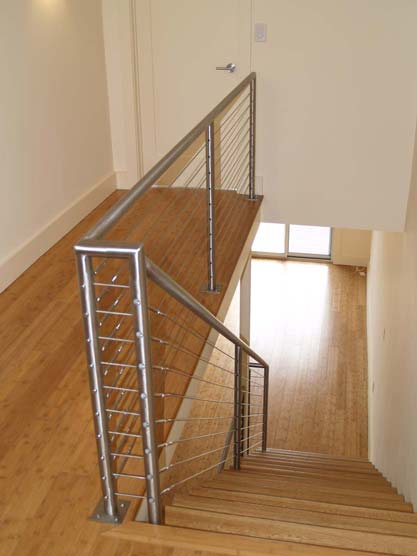 Steel Stair With Cable Railings Post Road Iron Works