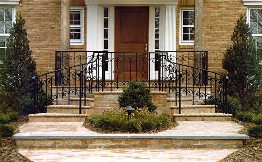 Front Elevation Railing : Wrought iron steel entrance railings post road works